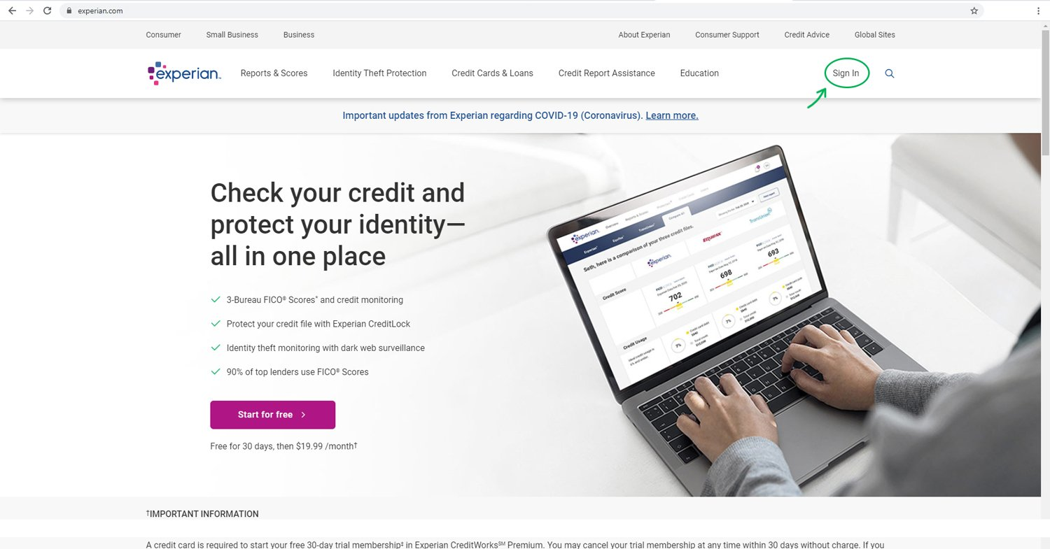Sign-in to Experian