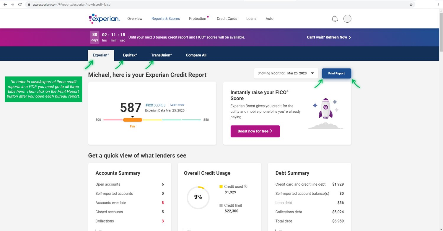 All Three Credit Reports in Experian